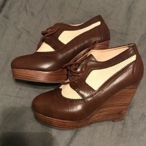 NWOT Forever21 Brown Leather Wedges Booties